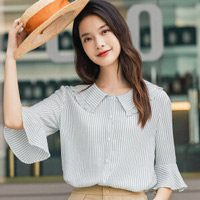 茵曼中袖衬衣女夏装新款宽松条纹显瘦小清新文艺花边减龄衬衫