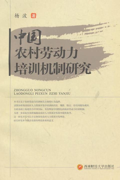 中国农村劳动力培训机制研究