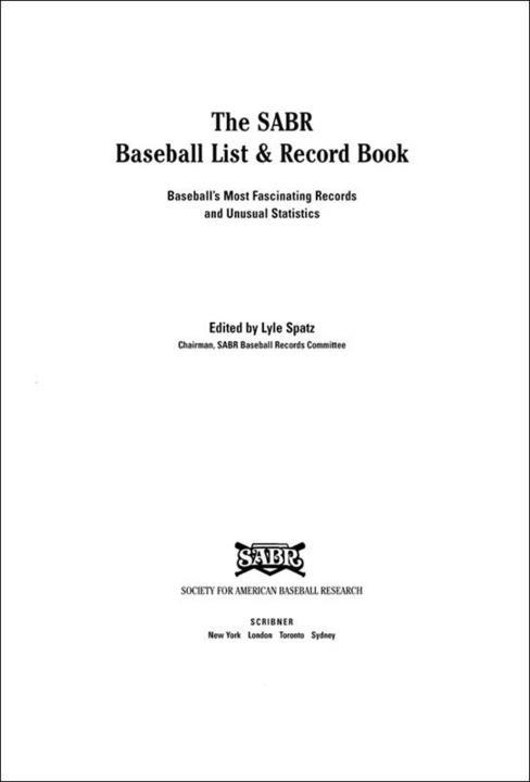 The SABR Baseball List & Record Book